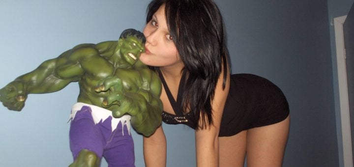 Hulk lover shows ass and vagina